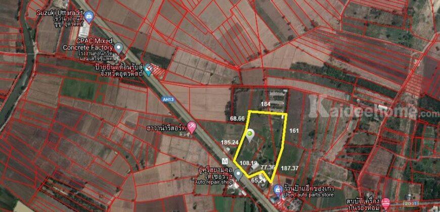 ขายที่ดินต่ำกว่าราคาประเมิน ติดถนนใหญ่ ทางหลวงแผ่นดินหมายเลข11 ฝั่งขาล่อง ทำเลดี หน้ากว้าง ขนาด 37-1-26 ไร่